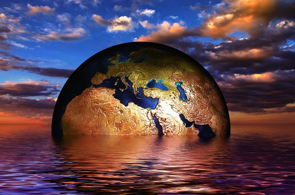 earth, globe, water