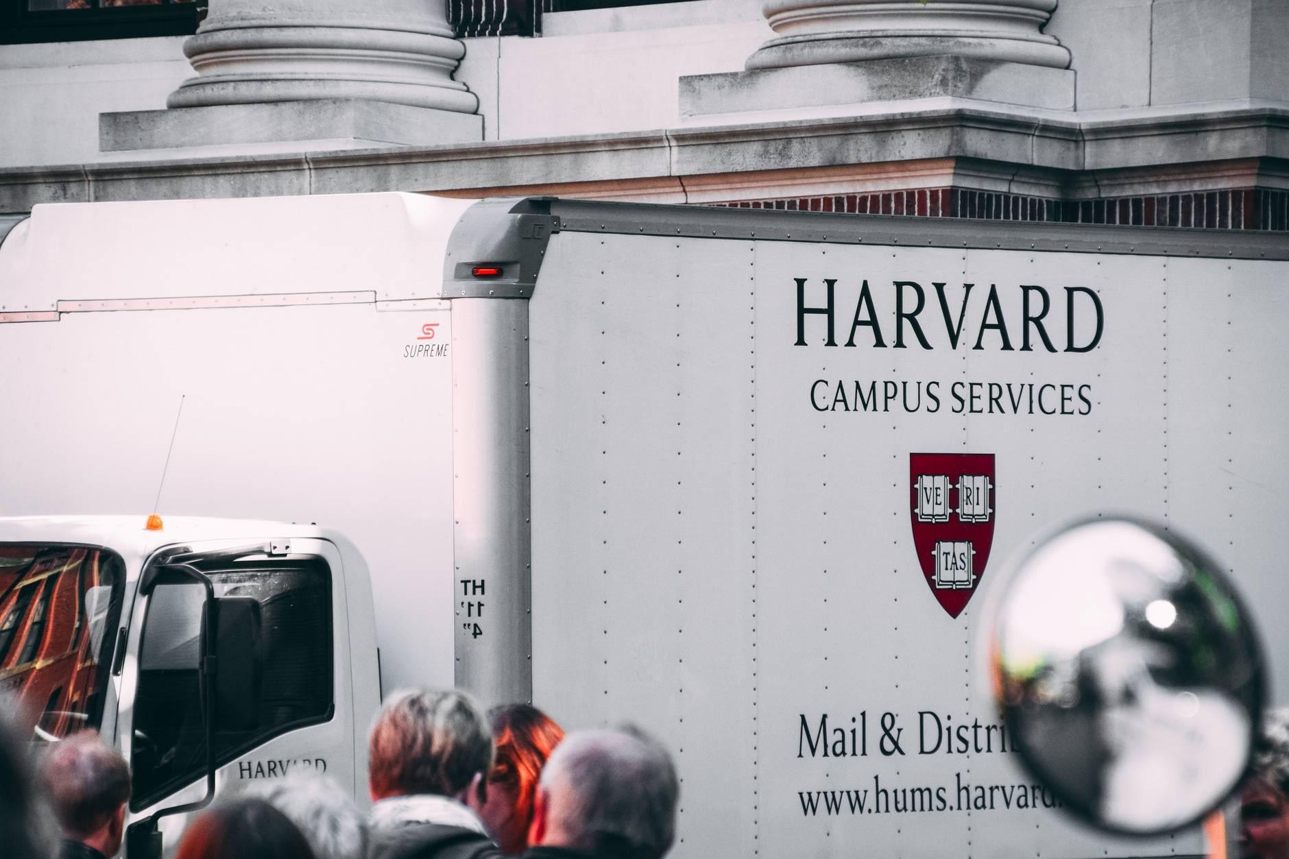 white harvard campus services truck