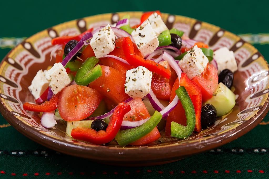 food, plate, greek salad