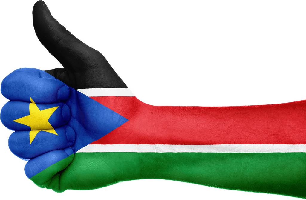 south sudan, flag, hand