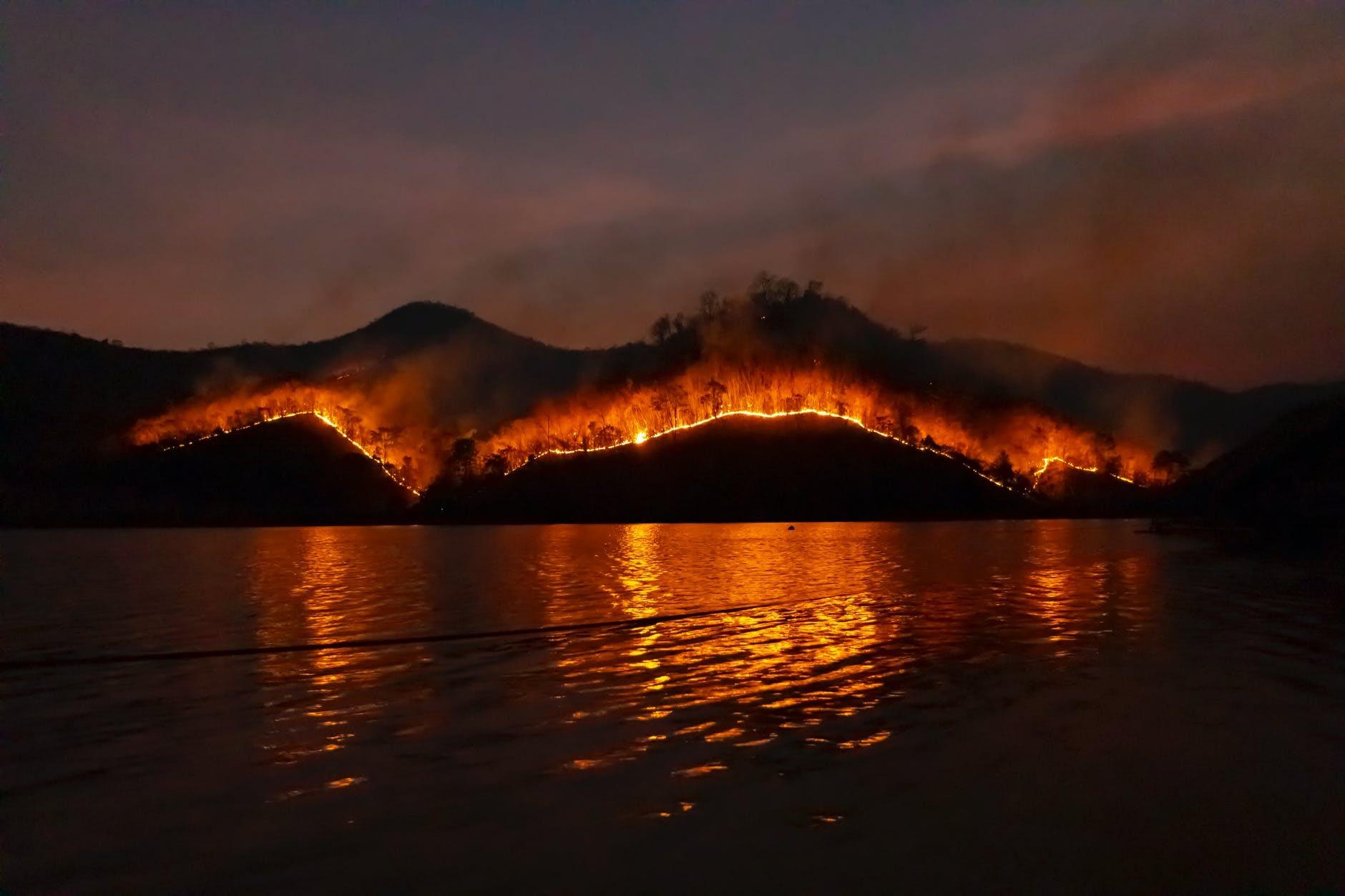 photo of wildfire on mountain